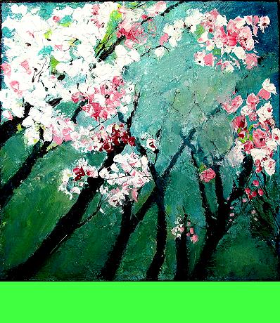Baumblüte • 40 x 40 x 4 cm • Preis: 320,- Euro • <span class='ak'>Ankaufanfrage</span>