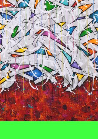 Funkhaus Block D 1.3 • 130 x 160 x 2 cm • Acryl, Spraypaint & Marker • 2018 • Preis: 3900,- Euro • <span class='ak'>Ankaufanfrage</span>
